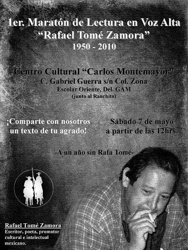A un año del fallecimiento del poeta Rafael Tomé Zamora, lo seguimos recordando...