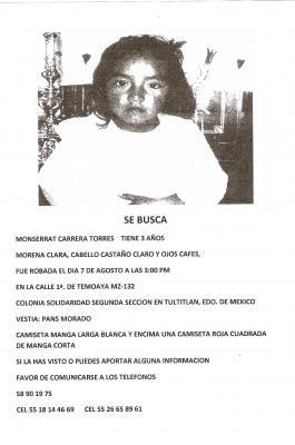 ayuda pedimos su apoyo para encontrar a la niña MONSERRAT CARRERA TORRES